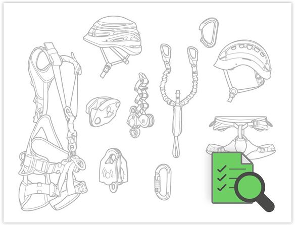 """Petzl tech illustration of Petzl equipment for the personal protective equipment training course."""